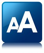 Font Size Glossy Blue Reflected Square Button
