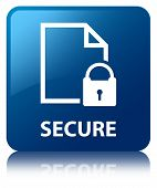 Secure Document Glossy Blue Reflected Square Button