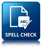 Spell Check Document Glossy Blue Reflected Square Button