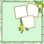 Vintage Summer Framework For Photo On The Textile  Background.