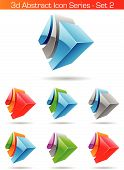 stock photo of three dimensional shape  - Vector EPS illustration of 3d Abstract Icon Series  - JPG