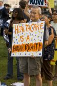 Healthcare supporters rally in Los Angeles, California.