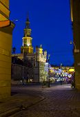 Night Photo Of An Old Town Square And City Hall In Poznan, Poland