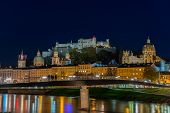 Night view of Salzburg old town, Austria