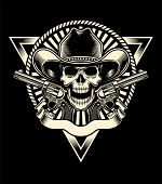 picture of skeleton  - fully editable vector illustration of sheriff skull with revolver on isolated black background - JPG