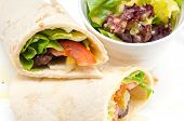 stock photo of shawarma  - kafta shawarma chicken pita wrap roll sandwich traditional arab mid east food - JPG