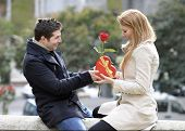 stock photo of fiance  - Romantic Man giving flower and heart shaped box to woman for valentines day - JPG