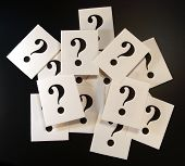 Question Mark Cards On Black