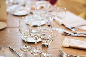 Aligned Glasses On Table