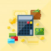Illustration concept of loan calculator in flat design style.