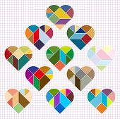 image of tangram  - Vector Heart Puzzle isolated on gird background - JPG