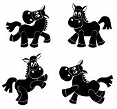Set of cute horses's silhouettes