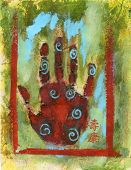image of healing hands  - Abstract Chakra Hand painting with the Chinese characters - JPG