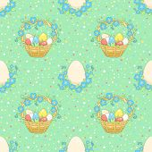 Green Background With Easter Basket