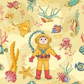Yellow Seamless Pattern With Diver