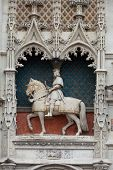 Statue of King Louis XII on the entrance to Chateau de Blois. Loire Valley France