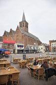 Amersfoort, Netherlands, June 3 2014: Joriskerk And Hof With People On Terrace