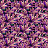 Seamless Pink Alstroemeria Flowers Background