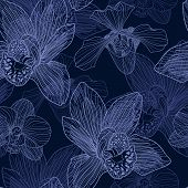 Orchid Engraving Seamless Pattern On Blue Background