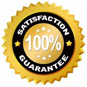image of 100 percent  - 100 percent satisfaction guarantee label isolated on white background - JPG