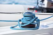 Winch And Rope, Yacht Detail.