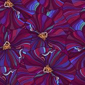 Bright Pansy Flowers Seamless Background