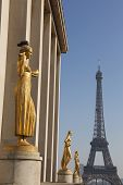 Chaillot Palace And Eiffel Tower, Paris, Ile-de-france, France