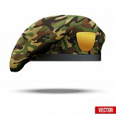 stock photo of beret  - Military Beret with camo texture of Army Special Forces - JPG