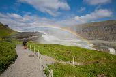 Closeup of Waterfall Gullfoss and rainbow, Iceland