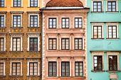 Colourful buildings in the center of Warsaw city