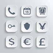 Finance icons set - vector white app buttons