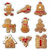 Set of Christmas ginger breads illustration for your design