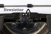 Word Newsletter written with vintage typewriter