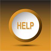 Help. Plastic button. Vector illustration.
