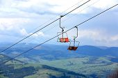 ski chairlift in summer background