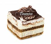 Tiramisu, Cake, Isolated On White Background