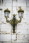 Golden lamps.Palace of Aranjuez, Madrid, Spain.World Heritage Site by UNESCO in 2001