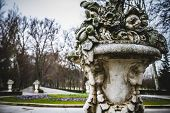 Stone vase.Palace of Aranjuez, Madrid, Spain.World Heritage Site by UNESCO in 2001