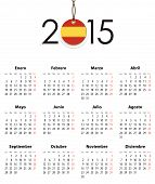 Spanish Calendar Grid For 2015 With Flag Like Tag
