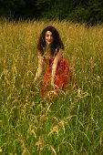 Pretty Woman In Meadow