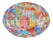Abstract Multicolored Globe On White Background.