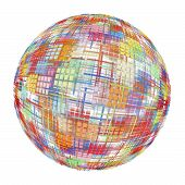 Multicolored Abstract Globe Silhouette On White Background.