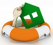 House insurance concept. 3d model ecological house symbol with key in Life Buoy on a white backgroun