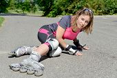 Young Woman Fell On Skates