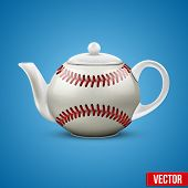 Ceramic Teapot In Baseball Ball Style. Vector Illustration.