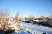 picture of paysage  - Winter village at sunset from roof - JPG