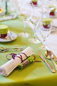 Elegant Table Set In Lilac And Green For Wedding Or Event Party