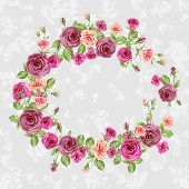 Floral frame with beautiful roses