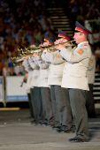 Modena, Itália - 9 de julho: Ucrânia banda militar durante concerto Internacional de bandas militares em julho
