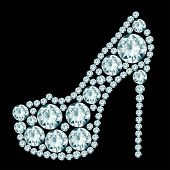 stock photo of black heel  - High heels shoe made of diamonds on black background - JPG